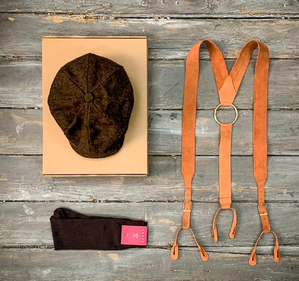 dantela înăuntru furnizor oficial ridica Set accesorii barbati (sosete, basca, bretele din piele)-brown - Arete